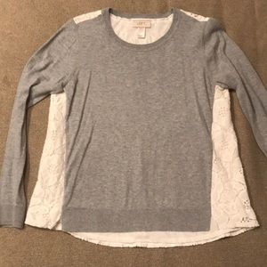 Loft gray sweater with lace back